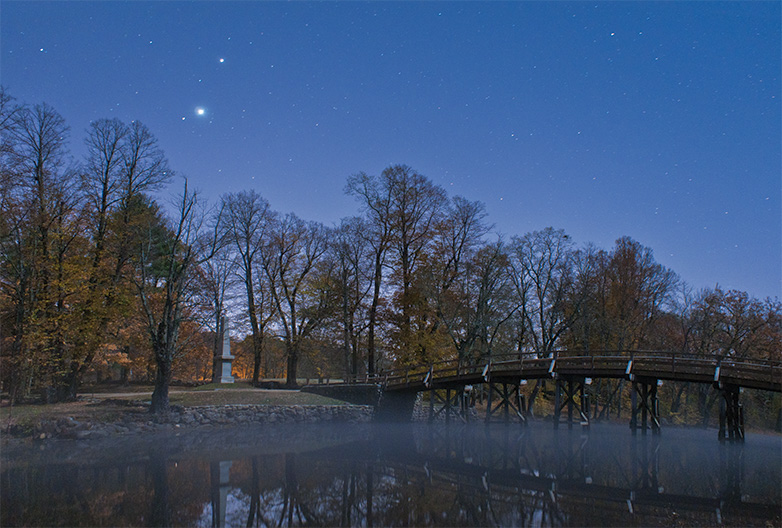 conjunction over Old North Bridge, Concord, Massachusetts